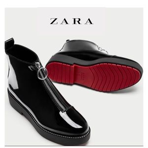 New Zara Faux Patent Ankle Boots Red Bottom